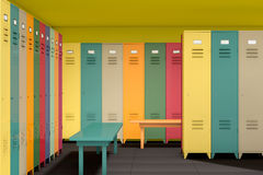 Row of Multicolour Lockers with bench Stock Images