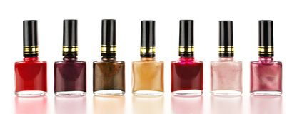 Row of nail polish Stock Photo
