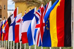 Row of national flags. At the resort in Egypt Stock Images