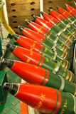 Row of naval artillery shells for deck gun Royalty Free Stock Photos