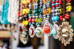 Row of necklaces Stock Photography