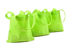 Row of Neon Green Cloth Bags Stock Photography