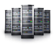 Row of network servers in data center. Isolated on white background with reflection effect Royalty Free Stock Photo