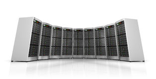 Row of network servers in data center isolated Stock Photos