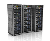 Row of network servers in data center isolated on white background. 3D illustration Royalty Free Stock Photo