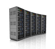 Row of network servers in data center isolated on white background. 3D illustration Stock Image
