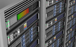 Row of network servers in data center isolated on white background. 3D illustration Stock Images