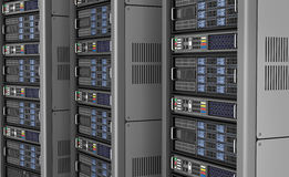 Row of network servers in data center  on white background. 3D illustration Royalty Free Stock Photos