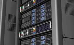 Row of network servers in data center  on white background. 3D illustration Stock Image