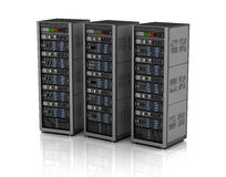 Row of network servers in data center  on white background. 3D illustration Stock Photos