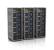 Row of network servers in data center  on white background. 3D illustration Royalty Free Stock Photography