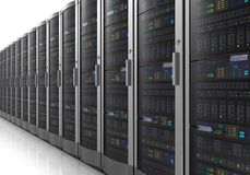 Row of network servers in datacenter Royalty Free Stock Image
