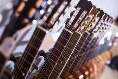 Row of new acoustic guitars in music shop. Close up tuning pegs of new acoustic guitars in music shop Royalty Free Stock Images