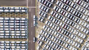 Row of new cars in an automobile factory Royalty Free Stock Images