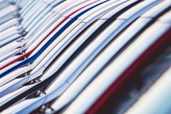 Row of New Cars For Sale. On Dealership Lot. Vehicles Sales Royalty Free Stock Photography