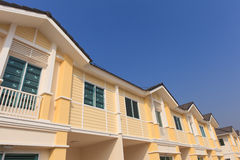 A row of new and colorful townhouses Stock Photos