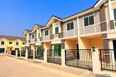 A row of new and colorful townhouses Royalty Free Stock Photo
