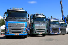 Row of New Euro 6 Volvo FH Trucks Royalty Free Stock Photo