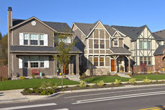 Row of new homes in Willsonville Oregon. stock images
