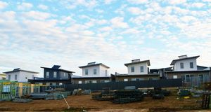 Row of new houses Royalty Free Stock Photos