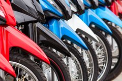 Row of new motorbikes for sale. Row of new motorbikes forsale Stock Photo