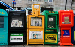 Row of newspaper boxes Royalty Free Stock Photos