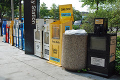 Row of newspaper boxes on the street stock photography