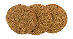 Row of oatmeal sugar free cookies on a white background Stock Photos