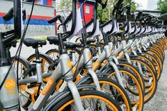 A row of obike are parking in Pasar Seni. oBike is first stationless smart bike share system in Malaysia, it providing the freedom Royalty Free Stock Images