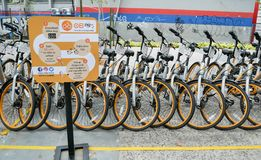 A row of obike are parking in Pasar Seni. oBike is first stationless smart bike share system in Malaysia, it providing the freedom Stock Photos
