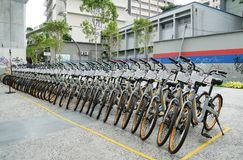 A row of obike are parking in Pasar Seni. oBike is first stationless smart bike share system in Malaysia, it providing the freedom Stock Photography