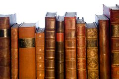 Row Of Antique Leather Books Stock Photo