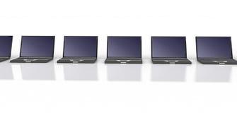 Row Of Black Laptops Stock Photography
