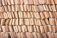 Free Row Of Brown Clay Roof Tiles Patterns Texture Or Background Stock Photos - 147695623