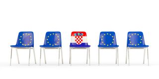Free Row Of Chairs With Flag Of EU And Croatia Royalty Free Stock Images - 140631849