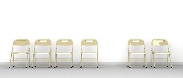 Row Of Chairs With One Missing Stock Photography