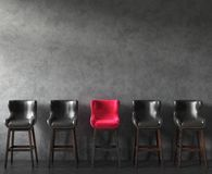 Free Row Of Chairs With Outstanding Pink One. Job Opportunity Royalty Free Stock Image - 137909346