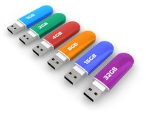 Row Of Color USB Flash Drives Stock Photo