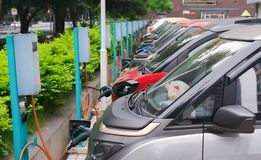 Free Row Of Electric Vehicle In  Electric Station Royalty Free Stock Photography - 147175057