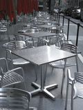 Row Of Empty Metal Tables And Chairs Royalty Free Stock Image