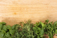 Row Of Fresh Herbs On An Old Wooden Chopping Board Stock Photography