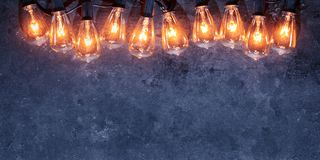 Free Row Of Lit String Light Bulbs Glowing On Grungy Background Stock Images - 160588654