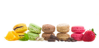 Row Of Macaroons With Ingredients Royalty Free Stock Image