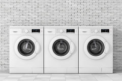 Row Of Modern Washing Machines. 3d Rendering