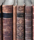 Row Of Old Leather Bound Books Royalty Free Stock Image