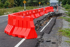 Row Of Red Plastic Barrier Preventing Accidents Stock Photos