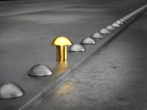 Row Of Rivets On The Metal Grunge Background Stock Photo