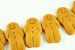 Row Of Smiling Gingerbread Men Stock Photo