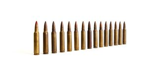 Row Of Standing M16 Cartridges Isolated Stock Photo