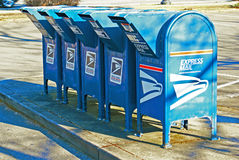 Free Row Of US Mail Drop Boxes Royalty Free Stock Photos - 30085298